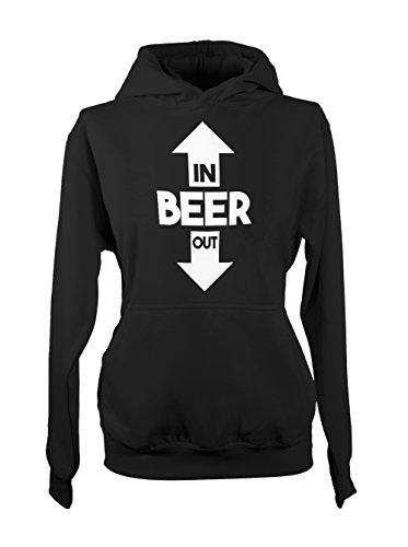 Beer In Out Amusant Party Drink Femme Capuche Sweatshirt Noir