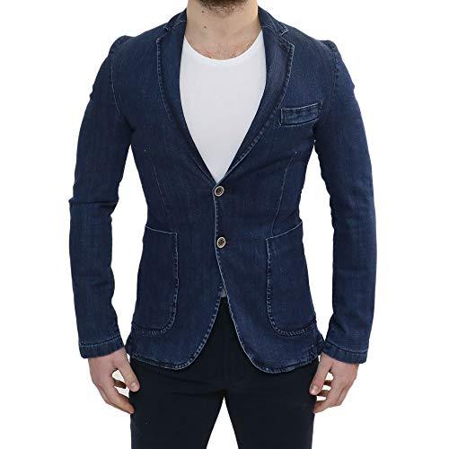 Ciabalù Herren Jacke Elegante Frühlings-Körperbetonte Slim-Fit-Jeans Blau Kragen Polka dot Kleid von Made in Italy Zeremonie Baumwoll-Blazer Denim Casual-Klassischer Sport (Polka Blazer Dot Herren)