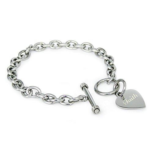 Acier Inoxydable Faith (Foi) Gravé Coeur Charme Bracelet