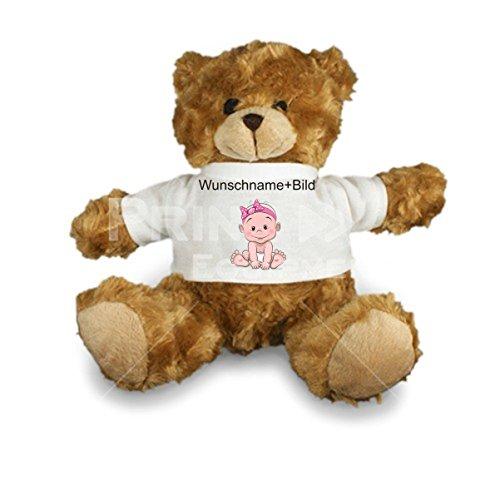 Plüsch Teddy - Stofftier Hardy Sitzhöhe 22 cm mit T-Shirt - mit Wunschtext und Bild nach ihren Wünschen