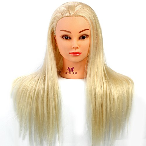 Neverland 22 Pouce Tête à coiffer 30% Cheveux Naturel Mannequin Tête Formation Coiffure avec Support Blond Platine 55CM