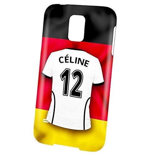 PhotoFancy Samsung Galaxy S5 Handyhülle Premium - Personalisierte Hülle mit Namen Céline - Case mit Design Fußball-Trikot Deutschland zur WM in Russland 2018