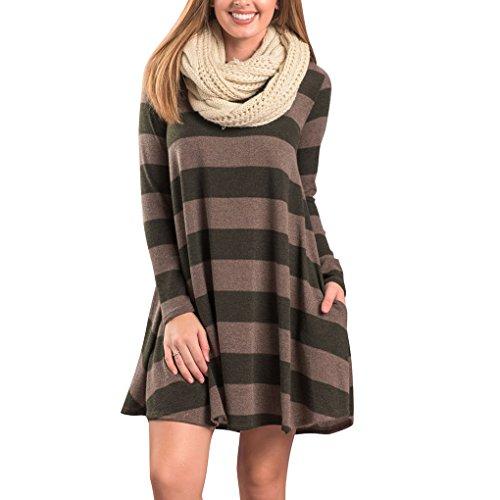 Robe en Tricot Femme Sweater Lâce Pull Manche Longue Haut Col Rond Automne Hiver Tunique Rayée Grande Taille Mini Swing Robe A-line Sweat Pullover Long Jumper Blouse Top – Landove Vert