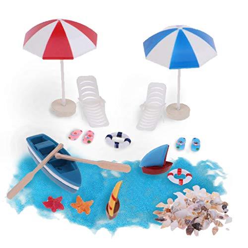RunFa Miniatur Dekoration, 13 Pcs Strand-Mikrolandschaft Mini Liegestuhl Deko Strand Palme Sonnenschirm Boot Blauer Sand für Geburtstagsgeschenk, Sonnenschirmen, Miniliegestuhl, Booten usw