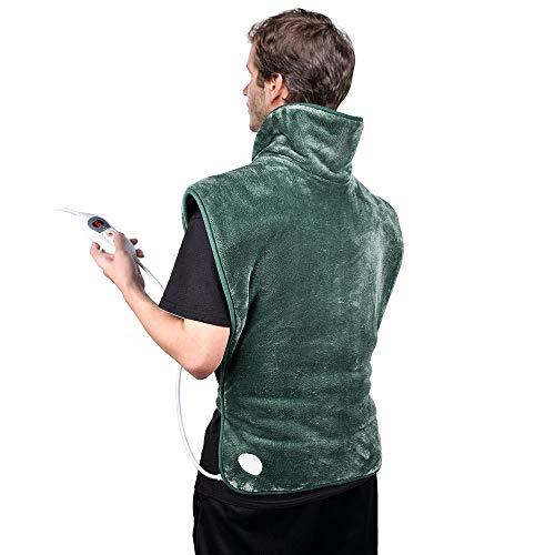 Heizkissen für Rücken Nacken Schulter, 60 x 90cm Wärmekissen Elektrisch mit Abschaltautomatik und 6 Temperaturstufen für Entlastung von Rücken und Schultern, Heizdecke aus Angenehmem Flanellmaterial