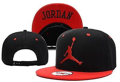 Unisex Air Jordan Einstellbare Hip Hop Sport Fans Hut Hysteresen Baseballmütze (schwarz, rot-Logo)