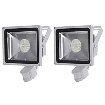 2 pcs 50w smd led projecteur projecteur avec d tecteur de mouvement pir spot blanc froid ip65. Black Bedroom Furniture Sets. Home Design Ideas