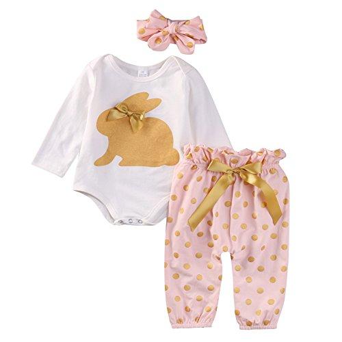 aby Girl Kaninchen Drucken Bodys + dot Hose + Bügel Bekleidung Set Outfits (Herbst-baby-dusche-ideen)