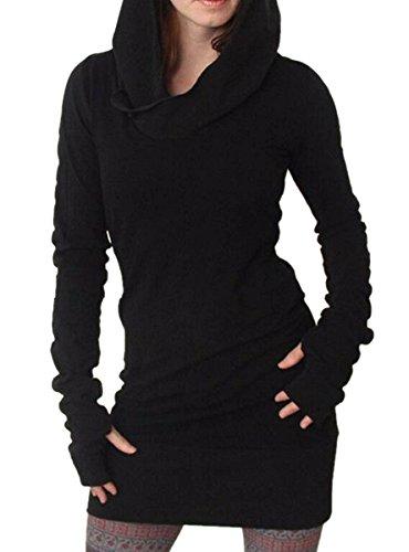 Minetom Damen Langarm Hoodie Bodycon Kapuzen Pullover Mini Kleider Tunika Longshirt Schwarz 42 (Kapuzen Tunika Damen)