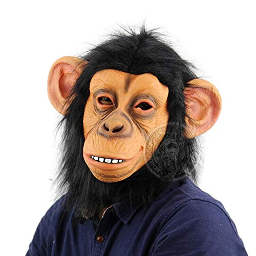 Horner Kostüm Neuheit - HARLT Neuheit Halloween Kostüm Party Animal Kopf Maske Schimpanse, Cosplay Maske