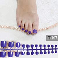FARMERLY 2017 French show cute candy fake toenails Solid color glitter purple toes simple short deep color flash T107: Purple