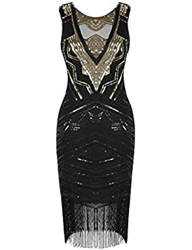 Kayamiya Damen 1920er Jahre Flapper Kleid Pailletten Perlen Cocktail Gatsby Kleid