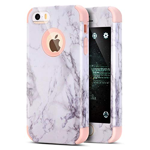 Kompatibel mit iPhone 6S Plus Hülle,iPhone 6 Plus Hülle,[Heavy Duty Full-body] Marble Marmor Hybrid Dual Layer TPU Silikon Hard Case Cover Schutzhülle Handyhülle für iPhone 6 Plus/6S Plus,Rosa Heavy-duty-iphone Fall
