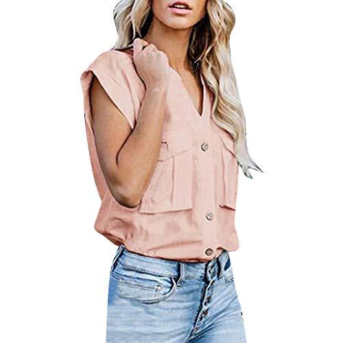 TAMALLU Damen T-Shirt Casual V-Neck Einfarbige Kurzarm Wild Frauen Shirts(Rosa,2XL)