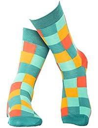 Grün karierte Socken aus hochwertiger, langstapliger Bio Baumwolle, GOTS zertifiziert