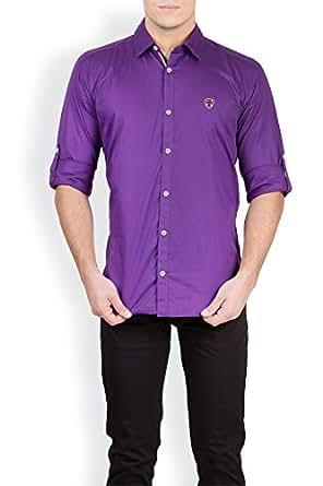 GHPC Men's Cotton Casual Shirt(CS62253_Purple_38)