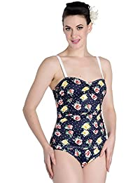 47901ea46d25d Hell Bunny Navy Emma Floral 50s Retro Vintage Pin Up Beach One Piece  Swimsuit