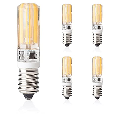 E14 LED 5er Set Dimmbar Glühfaden Fadenlampe Warmweiss 230V,von Kobos-LED, 400 Lumen 5 Watt aus Silikongehäuse, high Power COB Chip gleichmäßige Beleuchtung super klein Leuchtmittel Birne in Ø 15mm 3000K ,LED-Lampe mit E14-Sockel ersetzt 40 Watt Glühbirne , Abstrahlwinkel 360º [Energieklasse A++]