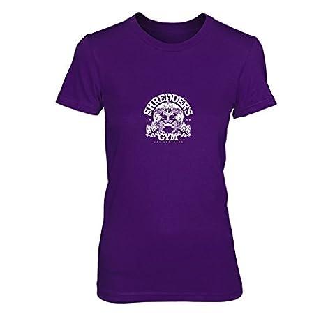 Shredder's Gym - Damen T-Shirt, Größe: XL, Farbe: lila (Shredder Schildkröten Kostüm)