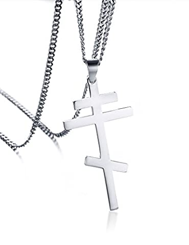 Vnox Collier pendentif en croix orthodoxe russe en acier inoxydable pour femme en argent sterling Empire byzantin en argent,chaîne cubaine gratuite