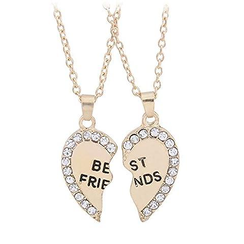 TININNA 2 Pcs Split Heart Rhinestone Best Friends Engraved Pendant Necklace gold