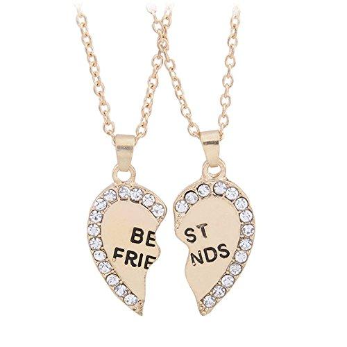 TININNA 2 pz split cuore strass inciso con Best Friends del font collana del pendente (Amici Pacchetto)