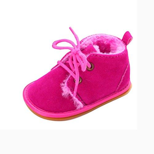 FEITONG Baby Kleinkind Schnee Aufladungs Schuhe Gummisohle Prewalker Krippe Schuhe (0 ~ 6 Monat, Braun) Rosa