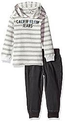 Calvin Klein Baby Boys Thermal Hoodie Sets, Oatmeal Stripe, 12M