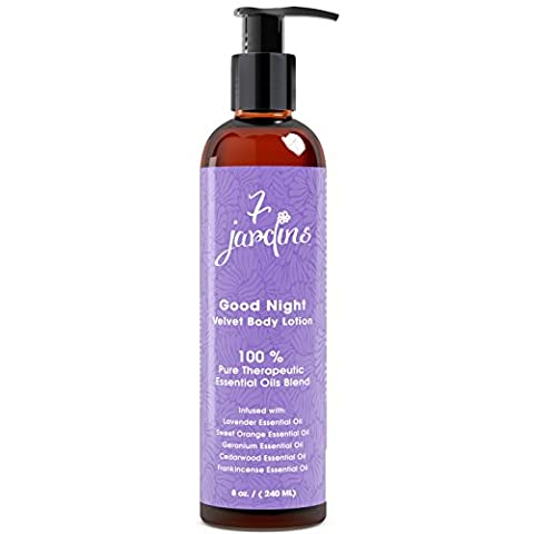 7 Jardins Good Night Velvet Body Lotion - Daily Body Moisturizer For All Skin Types Enriched With Lavender, Sweet Orange, Geranium, Cedarwood & Frankincense Essential Oils - Safe & Sulfate Free