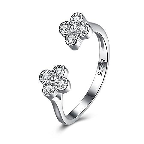 Balansoho Argent sterling 925double Fleur Anneaux Ouverts réglable fine bijoux femme avec Oxyde de Zirconium