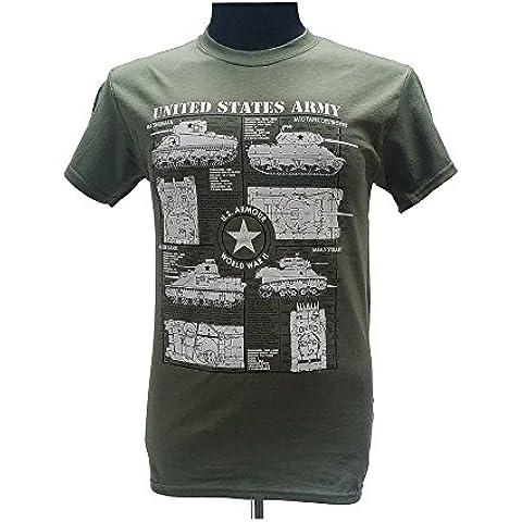 Depósitos de Ejército de los Estados Unidos–Guerra Mundial II/Military T Camisa con diseño de mapa