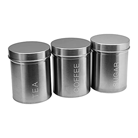 Harbour Housewares Stainless Steel Tea, Coffee, Sugar Canister Set