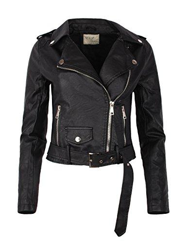 Fraternel Damen Jacke Bikerjacke Kunstlederjacke mit Gürtel Schwarz XL / 42
