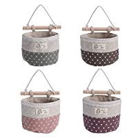 OUNONA Wall Hanging Storage Bags Lace Trim Wall Storage Saver Bags,4 Pockets