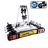 Auto Companion - Piattaforma portabici posteriore, per 4 biciclette, da fissare al giunto sferico di traino