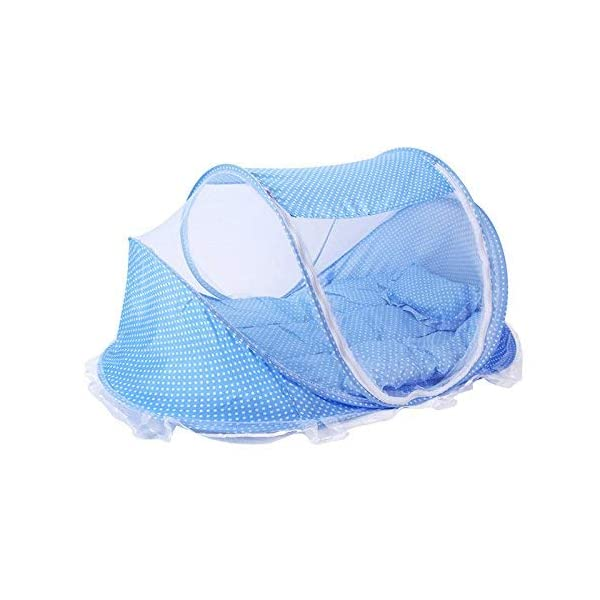Baby Crib Mosquito Net, Foldable Baby Crib With Mosquito Net Portable 0-3 Years Bedding Bed Cotton Sleep Travel Beds Cribs Pillow Mat Seat Set (Blue) PerGrate ❤ Baby mosquito bed including mattress, baby pillow and mosquito net. It is better for 0-3 years old baby,Suitable for infants under 90cm height(The product length is 110cm) ❤ It is Soft, comfortable and can prevent baby dropping down the floor, it also can prevent your baby from dust. Perfect for outdoors, it also can use for indoors ❤ The Material is Breathable mesh and Cotton which provides a virus free environment while keeps the air flowing and your baby dry 1