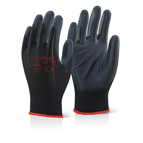 Clic avec revêtement en polyuréthane Gant Noir – Grande X 5 paires