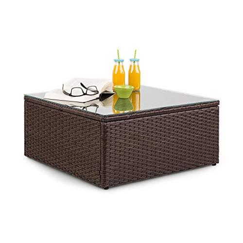 blumfeldt Theia Loungetisch Beistelltisch Gartentisch (aus Polyrattan, Glasplatte, platzsparend)