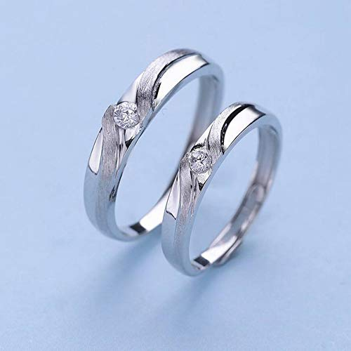 ERH Fashion Ol 925 Silver S925 Silver Love Songs Couple Bague Fashion Bagues Joker, Blanc