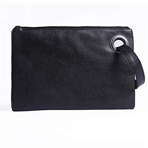 TTZZ Fashion Solid Handtasche Frauen Handtasche Leder Frauen Umschlag Tasche ReißverschlussAbendtascheWeibliche Kupplungen Handtasche Schwarz31 * 21 cm
