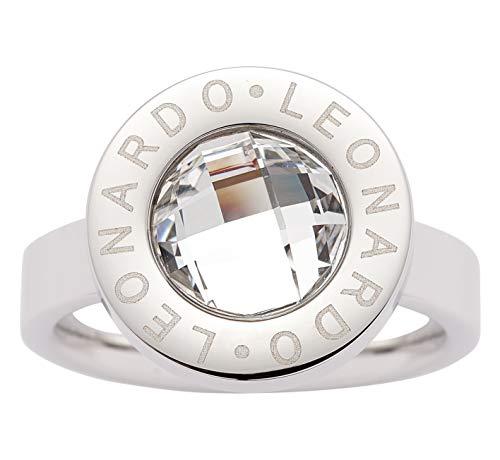 JEWELS BY LEONARDO Damen-Ring Matrix klein, Edelstahl mit klarem facettiertem Glasstein, Größe 19, 016452 -