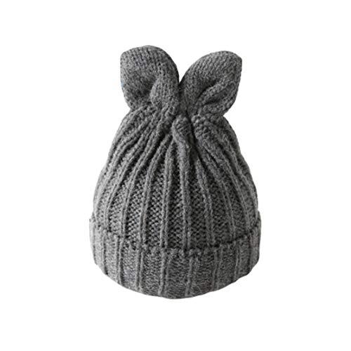 HIOD Frauen Winter Warme Strickmütze Damen Nette Beanie Mütze Mädchen Normallack Einfache Kappe mit Den Ohren,Gray