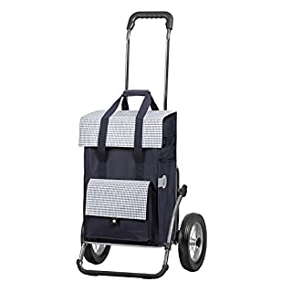 Andersen Shopping trolley Royal with bag Milla blue, Volume 49L, steel frame and metal-spoked wheels