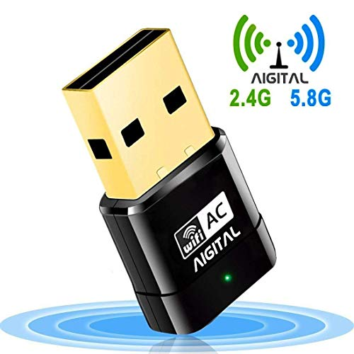 Aigital WLAN Adapter, WiFi Stick 600Mbps Wireless USB Adapter Dualband 2.4G/5.8G AC-Speed bis zu 433 Mbit/s, Nano Größe WPS-fähig Unterstützt Windows 2000/XP/Vista/7/8/10, Mac OS X10.4-10.11 -