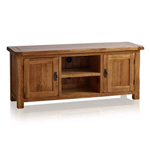 OAK Furniture Mueble de TV Grande y Ancho de Roble Macizo para Sala de Estar, Estilo rústico, Color Roble Macizo