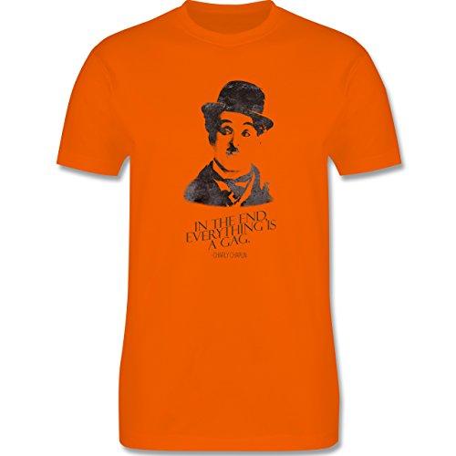 Vintage - Charlie Chaplin - in the end, everything is a gag - Herren Premium T-Shirt Orange