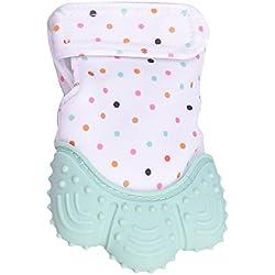 Newin Star Dentición Manopla,Mordedores Mitón Calmante para Bebés Silicona Seguridad y no-tóxico protege manos de los Bebés (verdor ligero)