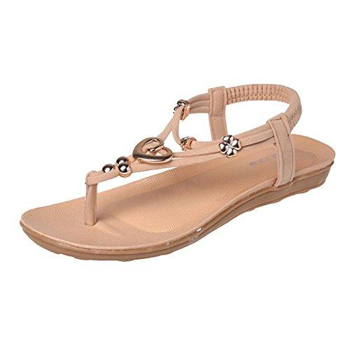 Chaussures Femme Sandale de Plage Plate Boho Mode dété Fille Confortable Orteil Post Beige