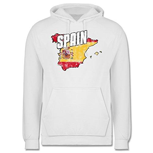 EM 2016 - Frankreich - Spain Umriss Vintage - Männer Premium Kapuzenpullover / Hoodie Weiß