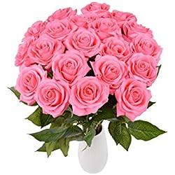 Rosen 10 Stück Real Touch Schöne Echtes Moisturizing Curling Knospe Latex künstliche Rose Kunstblumen Blume Dekoration Blumenstrauß Blumenarrangement (Rosa)